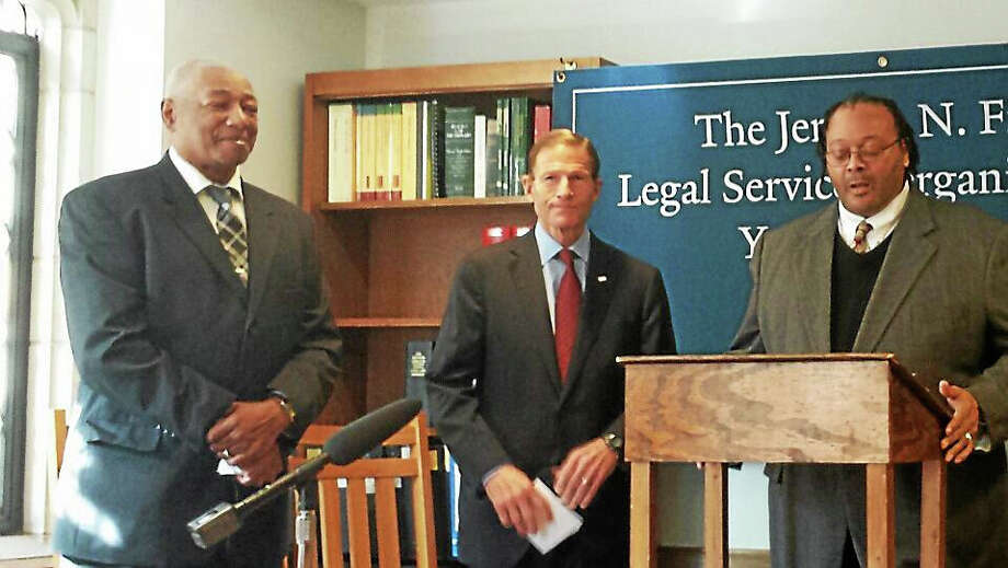 (From left to right) Conley Monk, U.S. Sen. Richard Blumenthal (D-Conn), and Garry Monk sare new information about upgrading less than honorable discharge statuses for veterans suffering from PTSD in a press conference Monday. Photo: Journal Register Co.