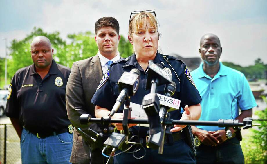 Police Lt. Heather Desmond speaks at a press conference at 3 p.m. confirming that Middletown police and fire personnel are searching for 7-month old Aaden Moreno on July 5, 2015. Photo: Catherine Avalone — New Haven Register  / New Haven RegisterThe Middletown Press