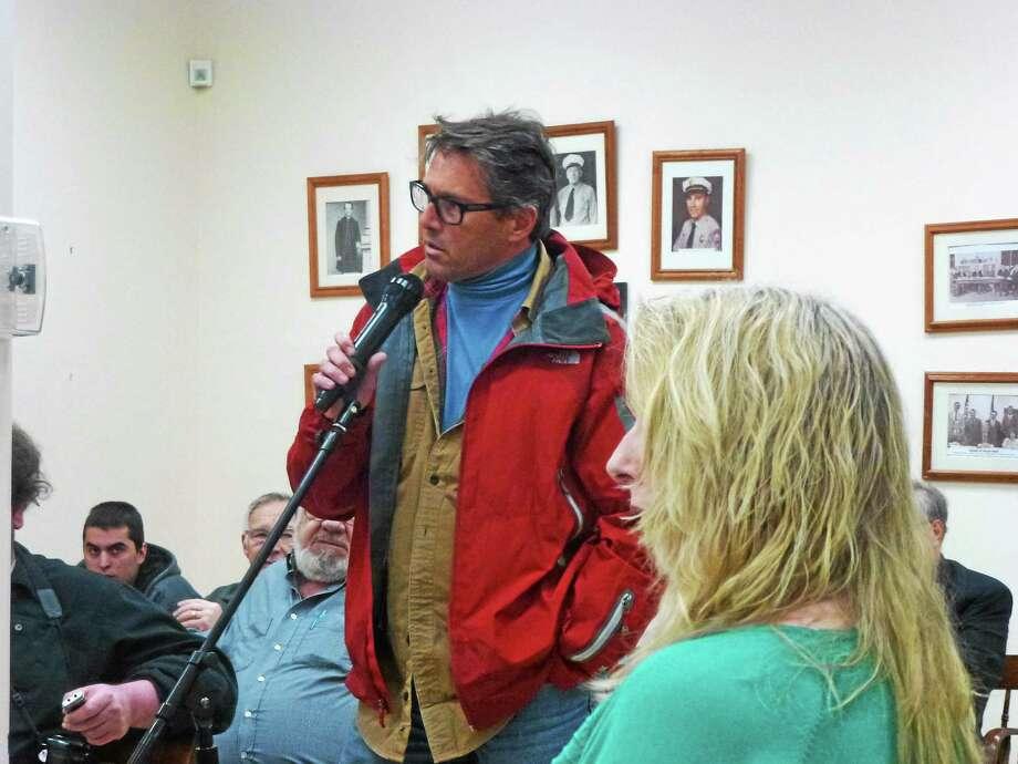 James Roberts, speaking to the Board of Selectmen last year. Photo: Ryan Flynn — Register Citizen