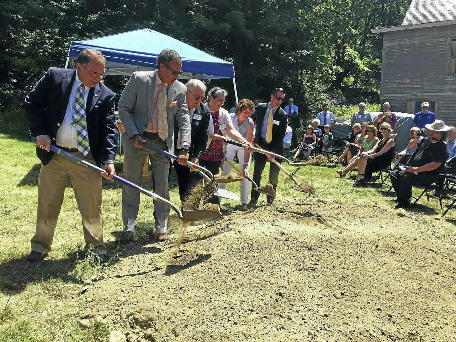 A groundbreaking ceremony for the construction of a new international dormitory at The Gilbert School was held Thursday. Photo: Ben Lambert — The Register Citizen