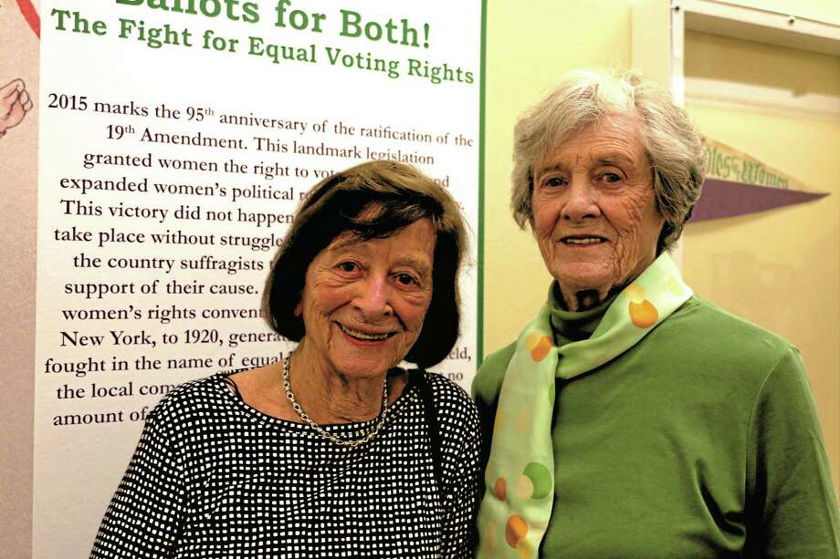 """Marie Wallace and Joan Bertaccini attend the opening for the """"Ballots for Both"""" exhibit at the Litchfield Historical Society. Both have been active in the League of Women Voters of Litchfield County and Wallace was a charter member. Photo: John Fitts — The Register Citizen"""
