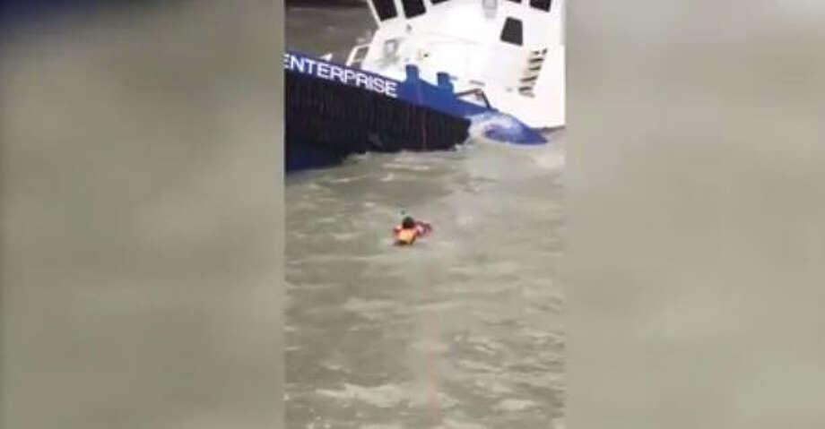 The Coast Guard rescued 15 people aboard vessels in distress near Port Aransas, Texas, Saturday. (U.S. Coast Guard)