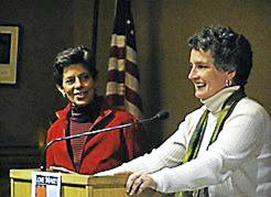 Sen. Beth Bye and her wife Tracey Wilson in 2009 celebrating the one year anniversary of the Supreme Court decision Photo: Digital First Media