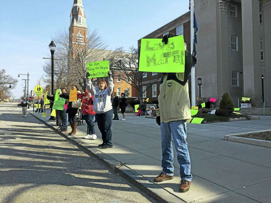 A rally was held in support of the homeless residents of Torrington Tuesday morning, following the recent removal of a homeless encampment in the city. Photo: BEN LAMBERT — The Register Citizen