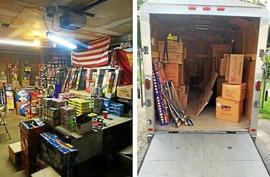 Connecticut State Police seized nearly $250,000 worth of fireworks, explosives and improvised explosive devices Wednesday. Photo: Photos Courtesy Of Connecticut State Police