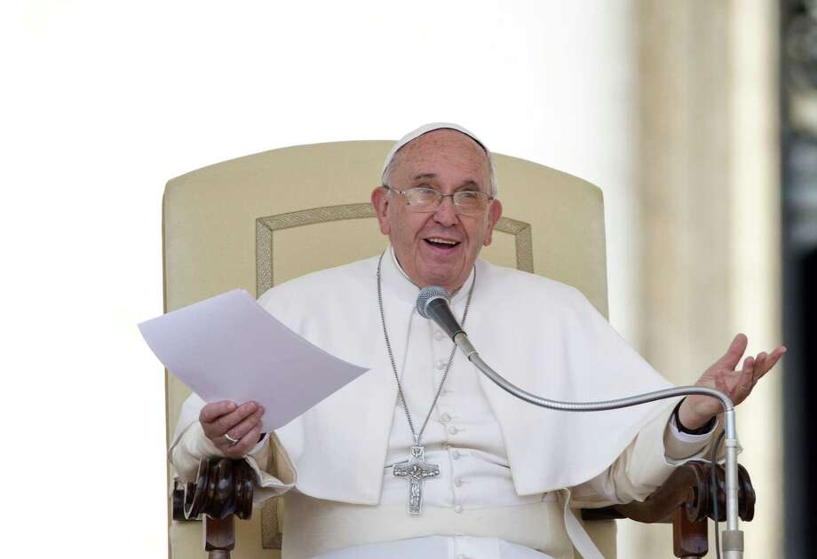 Pope Francis delivers his message during the weekly general audience in St. Peter's Square at the Vatican, Wednesday, April 29, 2015. (AP Photo/Alessandra Tarantino) Photo: AP / AP