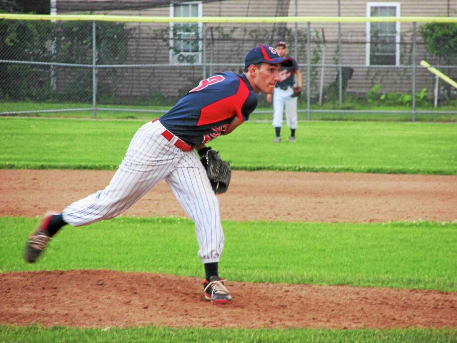 Torrington's Nick Santillo pitches against Amenia Wednesday night, Santillo was 2-for-2 at the plate with a double and 2 runs scored. Photo: Peter Wallace - Register Citizen