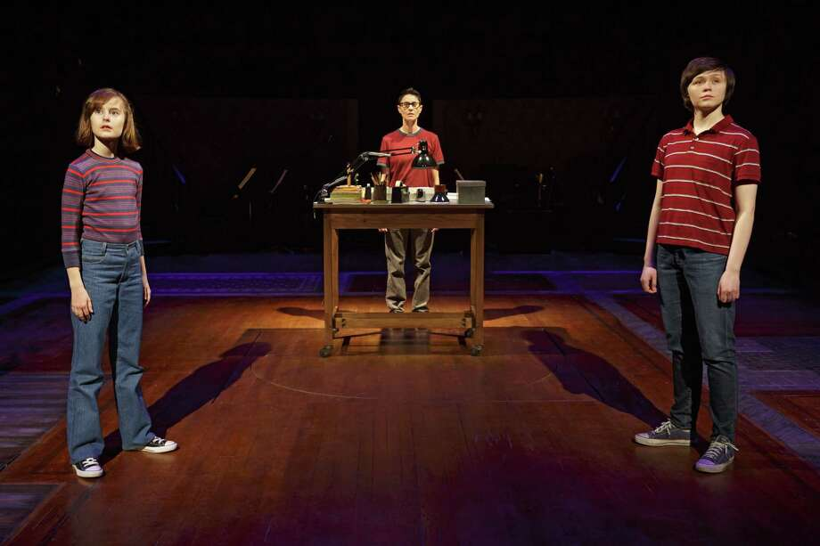 """This photo provided by O&M Co shows Sydney Lucas as Small Alison, Beth Malone as Alison, and Emily Skeggs as Medium Alison in """"Fun Home"""" at Circle in the Square Theatre in New York. """"Fun Home,"""" with a book and lyrics by Lisa Kron and music by Jeanine Tesori, played for four months at the off-Broadway Public Theater last year. Photo: Joan Marcus Via AP  / O&M Co"""