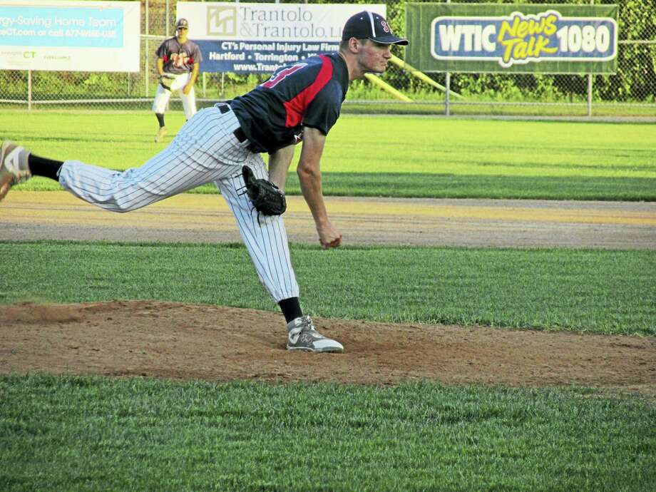 Photo by Peter WallaceIn a shelling by Amenia, Torrington Sports Palace reliever Jimmy Lamana threw two shutout innings before the bats erupted again in the final inning of a Connie Mack Baseball game at Fuessenich Park Tuesday evening. Photo: Journal Register Co.