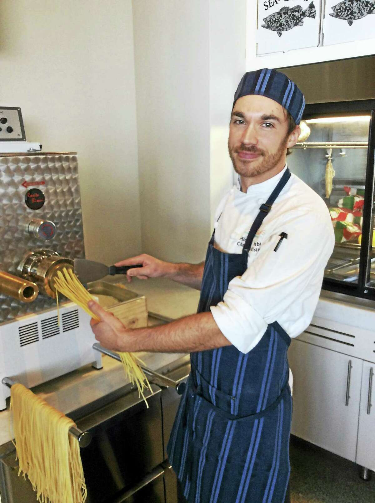 Mike Crosby, chef de cuisine, making the pasta at the Opal Sands Resort.