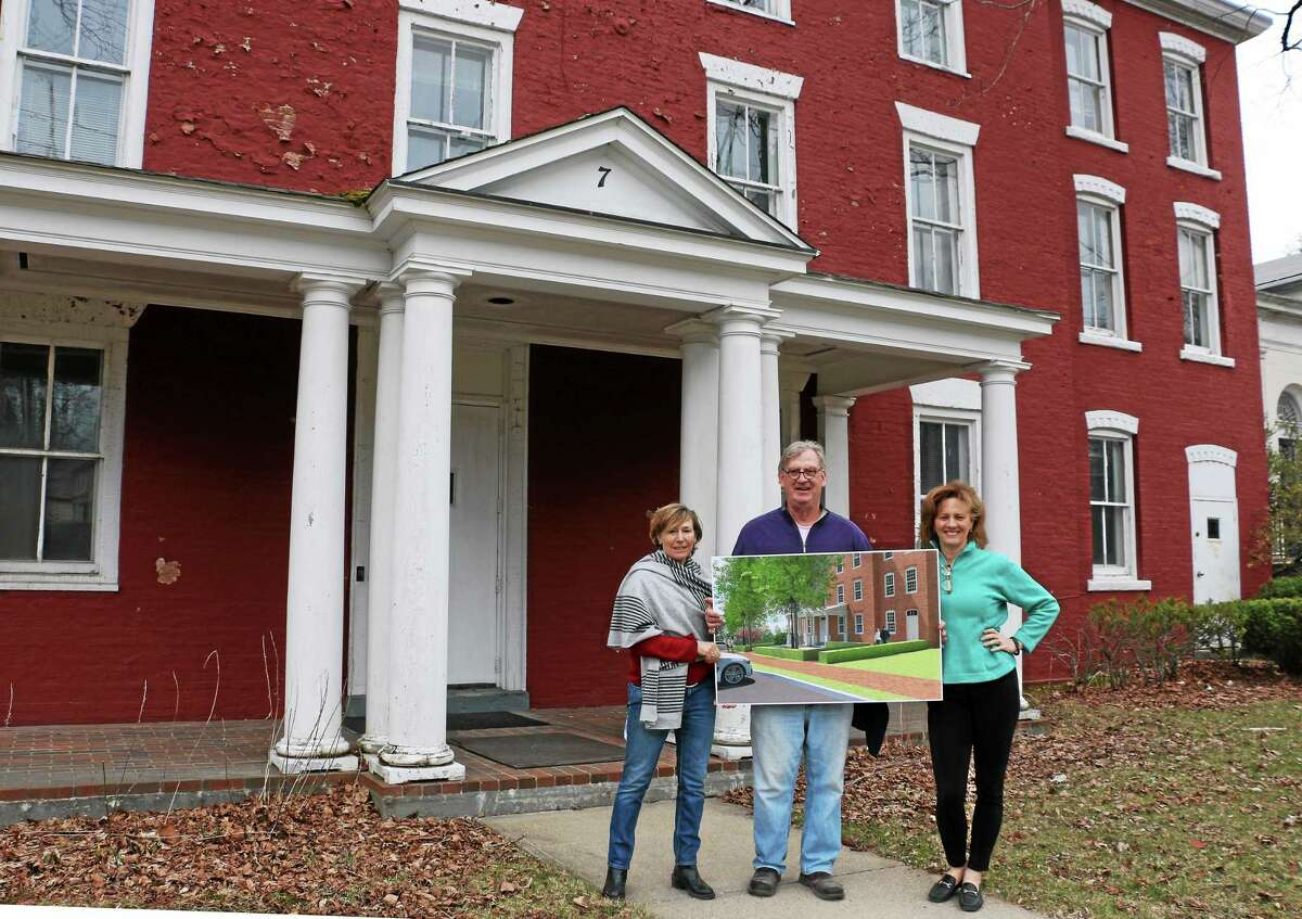 Harriet Saltzman, Russell Barton and Susi Stone at the Historic Litchfield Jail Site. The partners feel their plan for mixed use is solid but some in town have ojected to some of the details. Barton plans to resubmit an application to the Litchfield Historic District Commission on May 7.