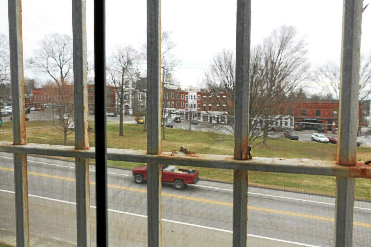 The view from the second floor of the historic jail building, which developers hope to utilize for loft apartments.
