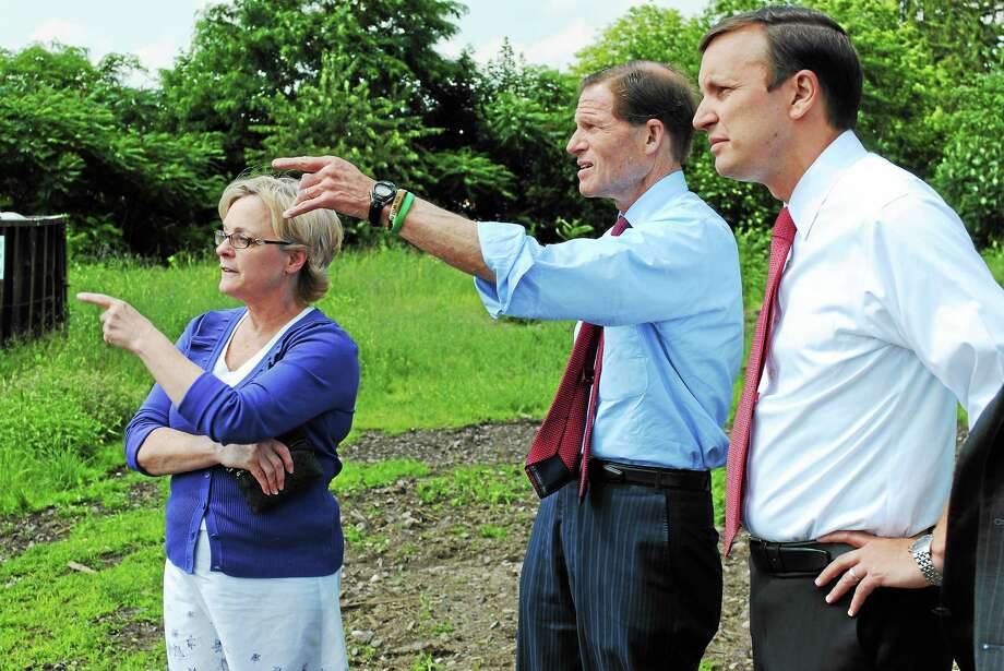 VIKTORIA SUNDQVIST — THE REGISTER CITIZEN U.S. Sens. Richard Blumenthal and Chris Murphy tour the Nidec site on Franklin Street in Torrington on Wednesday with Mayor Elinor Carbone. Photo: Journal Register Co.
