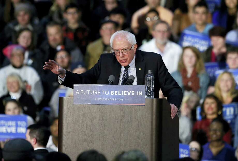 Democratic presidential candidate Sen. Bernie Sanders, I-Vt., speaks during a rally at Grand Valley State University Field House Arena Friday. Photo: The Associated Press  / AP