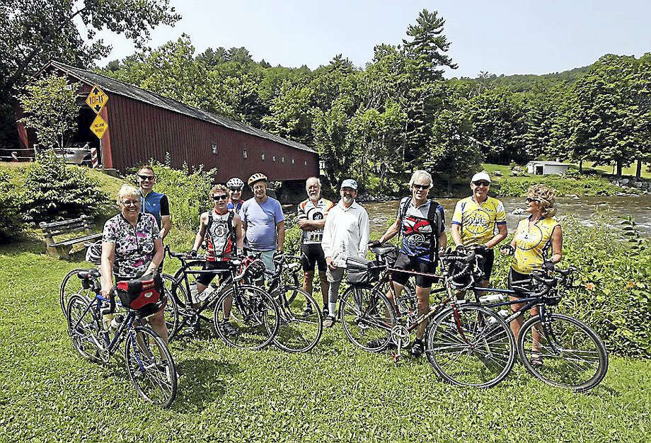 """Contributed photo Caption: Cyclists on the eight-day """"Heritage Ride 2016"""" Bikeway Tour will stop at Cornwall Bridge before journeying to """"Sculpturedale"""" in Kent for a celebration of their first day. The cyclists' tour ends July 31 in Montreal. Photo: Journal Register Co."""