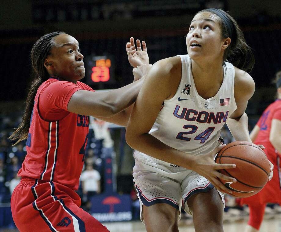 Dayton's Jayla Scaife, left, guards Connecticut's Napheesa Collier, right, in the second half of an NCAA college basketball game on Nov. 22, 2016 in Storrs, Conn. Photo: AP Photo/Jessica Hill  / AP2016