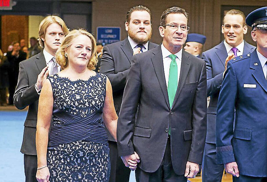Gov. Dannel P. Malloy and his wife, Cathy, with the couple's three sons at rear, from left, Sam, Ben and Dannel Jr. Photo: CONTRIBUTED PHOTO