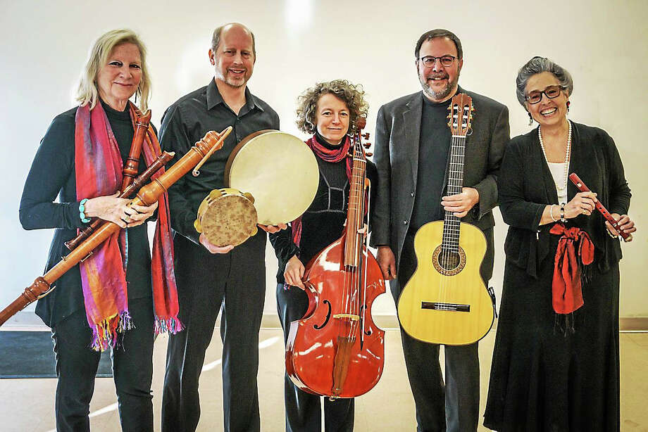 Contributed photo The Wykeham Consort performs at the Gunn Memorial Library Jan. 7. From left are Sarah Jane Chelminski,recorders, James Allen, percussion, Erica Warnock, Bass Viola, Andy LaFreniere, guitar, and founder Matilda Giampietro, soprano voice. Photo: Journal Register Co.