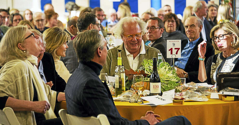 Photo by Rich PomerantzSeated at the table during the HVA auction are Vanity Fair Editor-in-Chief Graydon Carter (center) and Christine Baranski (right). withtheir guests. Photo: Digital First Media