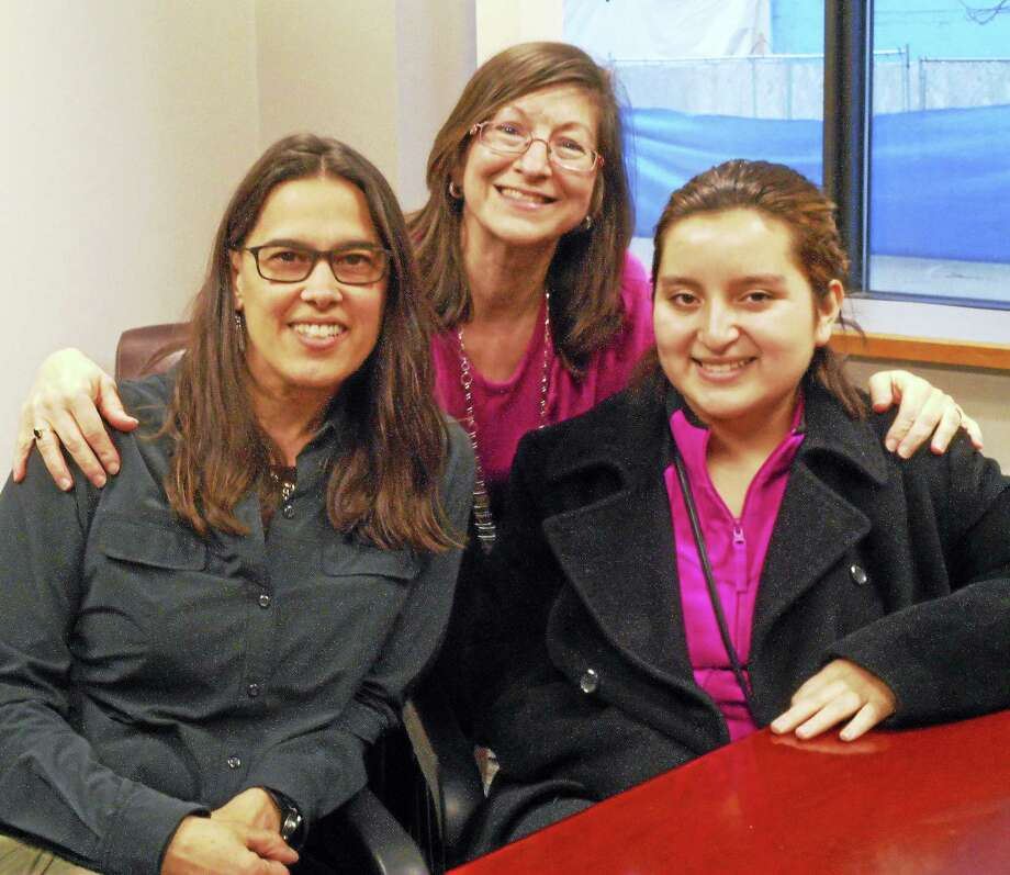 From left, Big Sister Vivian Felton, Match Support Coordinator Jackie Lundie and Little Sister Hilary Borja. Nutmeg Big Brothers Big Sisters is celebrating 50 years of service to the youth of Connecticut. Photo: Catherine Guarnieri — The Register Citizen