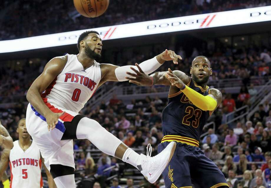 Andre Drummond, left, finalized his five-year deal with the Pistons on Friday. Photo: The Associated Press File Photo  / Copyright 2016 The Associated Press. All rights reserved. This material may not be published, broadcast, rewritten or redistribu