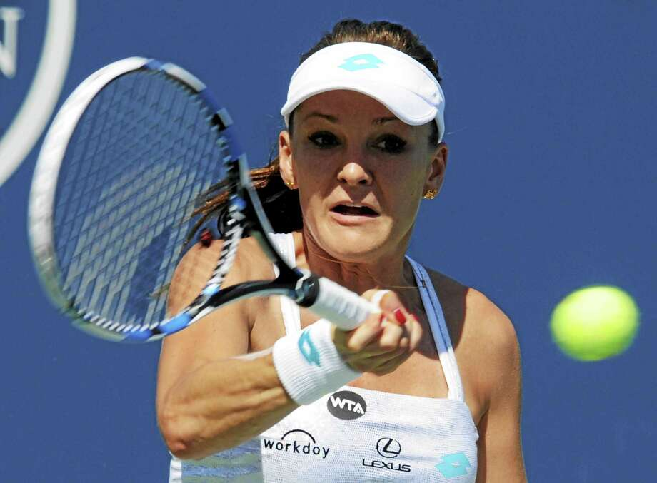 Agnieszka Radwanska defeated Alize Cornet 6-4, 6-2 Wednesday in a second-round match at the Connecticut Open. Photo: Bob Child — For The Register