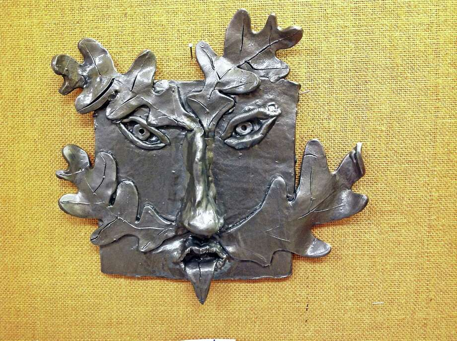 Contributed photo Students from the Lee Kellogg School created Green Man projects, which are on display at the David M. Hunt Library in Falls Village. Photo: Journal Register Co.