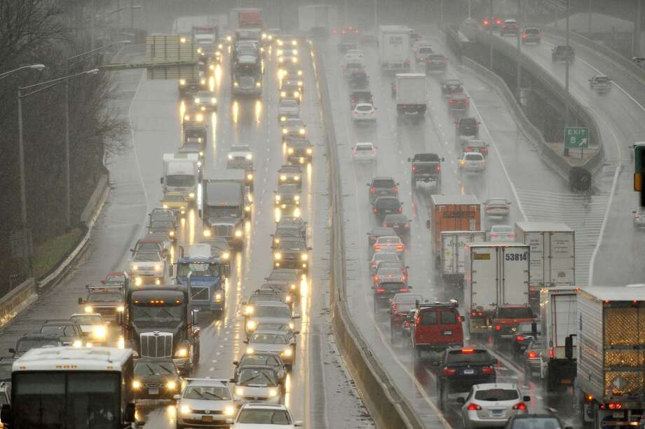 Traffic crawls along Interstate 84 in Danbury in this 2014 file photo. Photo: The Associated Press  / The News-Times