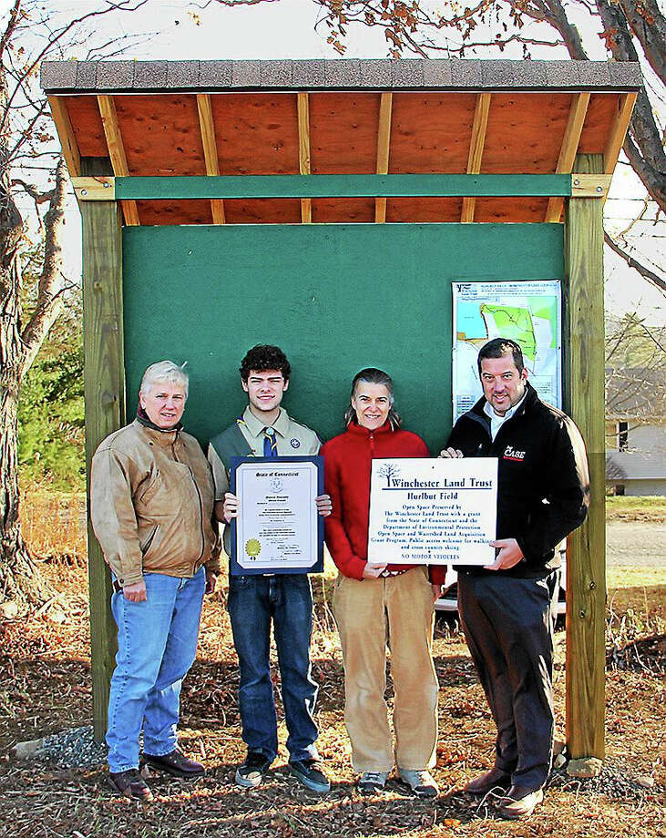 "From left, Winsted Mayor Althea ""Candy"" Perez, Eagle Scout Cassius ""Cash"" Pac, Winchester Land Trust President Jennifer Perga, and state Rep. Jay Case. Photo: Photo By Chuck Dmytriw"