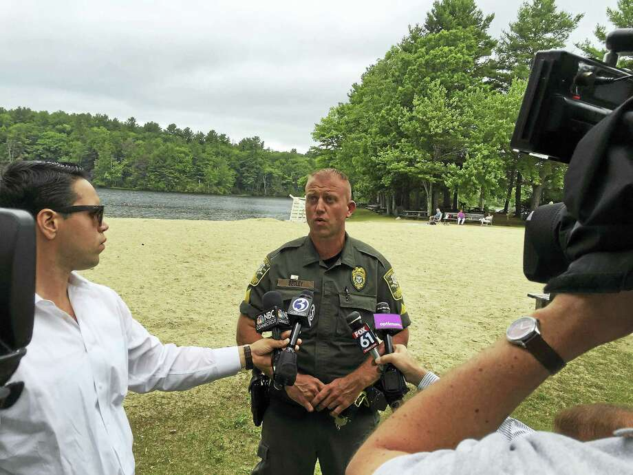 Ben Lambert - The Register CitizenSgt. Tate Begley of the Connecticut EnCon police gave a press conference Thursday about a purportedly unfounded 911 call made at Burr Pond. Photo: Journal Register Co.