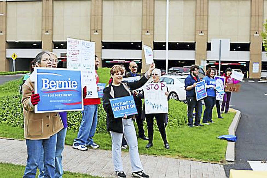 Bernie supporters outside the Connecticut Convention Center in May Photo: CTNewsJunkie File Photo