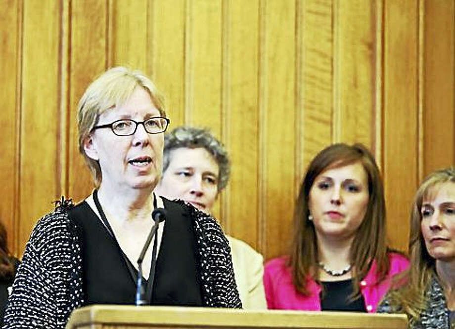 Sen. Cathy Osten, D-Sprague, speaking at a press conference earlier this month in support of paid Family and Medical Leave. Photo: CHRISTINE STUART — CT NEWS JUNKIE