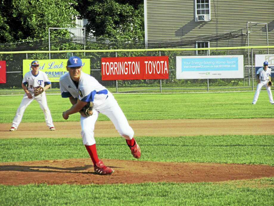 Photo by Peter WallaceTorrington P38 starter Garrett Coe owned the first three innings against Wolcott Tuesday evening until the pendulum swung toward a Wolcott sweep at Fuessenich Park. Photo: Journal Register Co.