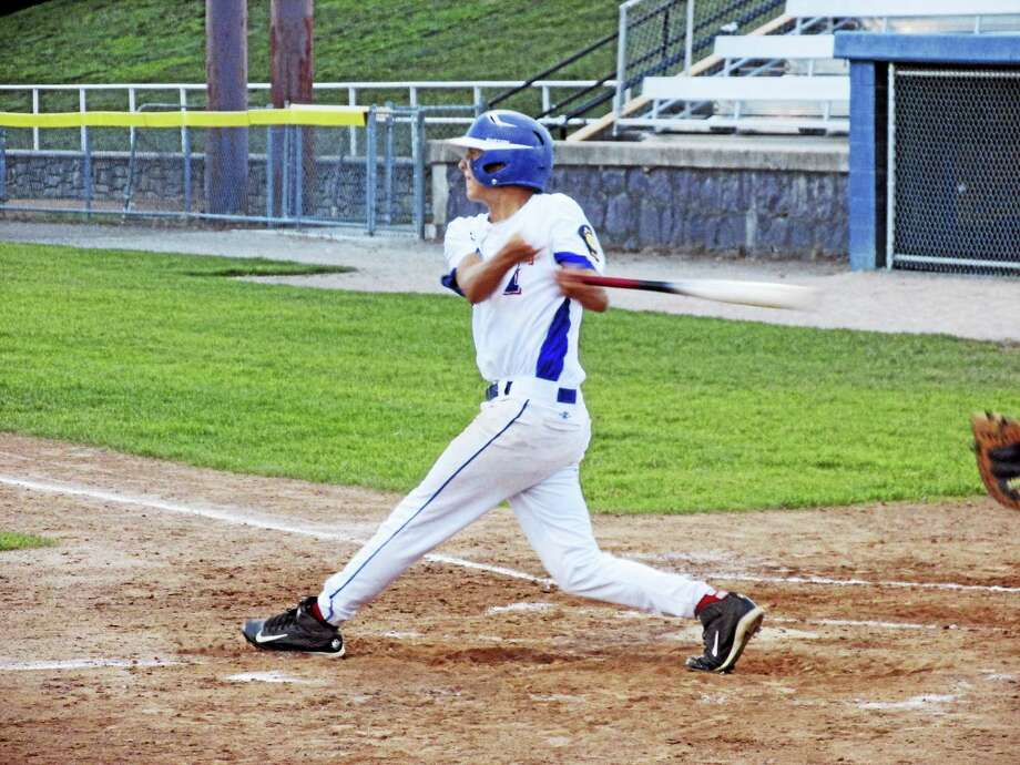 Photo by Peter WallaceTorrington's Austin Todd helped the P38s outhit Bristol Wednesday evening, but four errors and a two-run Bristol home run turned the game into a Bristol win. Photo: Journal Register Co.