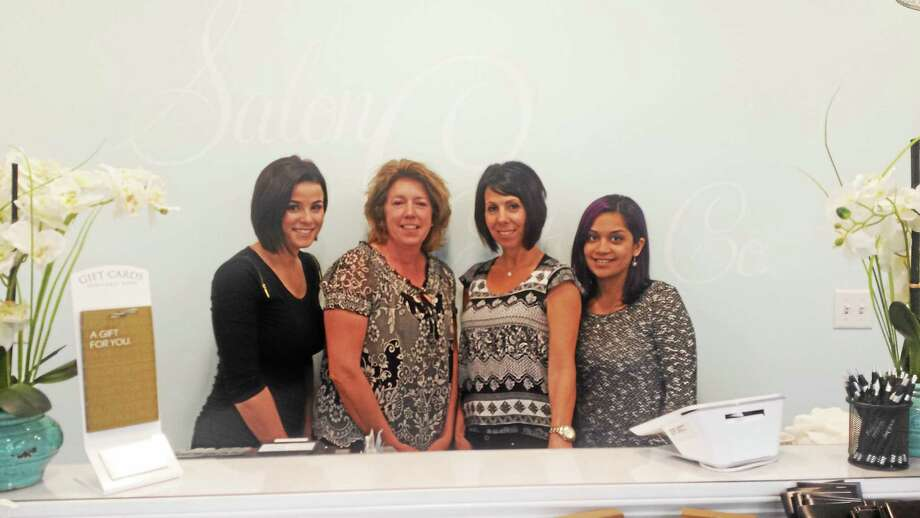 From left, stylist Taylor Markey, Salon C owners Maureen Pizzano and Melissa Young and stylist Danielle Tretika at the salon. Photo: Catherine Guarnieri — Register Citizen
