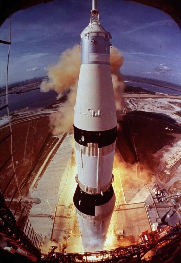 In this July 16, 1969, file photo, the Saturn V rocket that launched Neil Armstrong, Buzz Aldrin and Michael Collins on their Apollo 11 moon mission lifts off at Cape Kennedy, Fla. Photo: AP/NASA File Photo  / AP1969