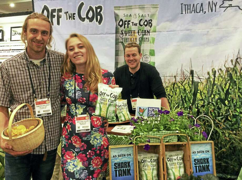 "Off the Cob Chips founder and CEO Cameron Sheldrake and operations manager Molly Willsallen made an appearance on ""Shark Tank,"" which gave the company great visibility, although none of the sharks invested. Photo: Stephen Fries — For The Register"