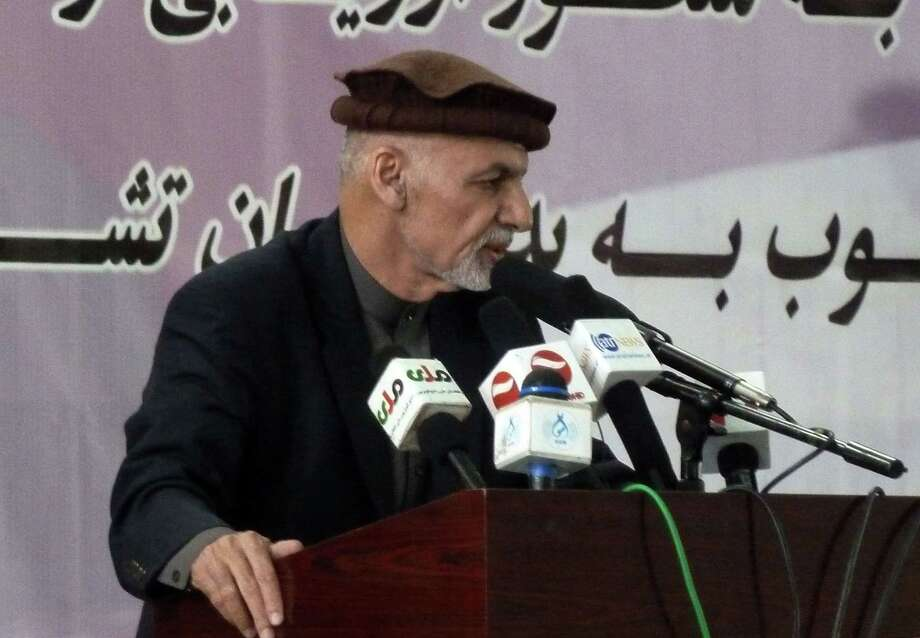 Afghan president Ashraf Ghani delivers a speech in Faizabad the capital of Badakhshan province, northeastern Afghanistan, Saturday, April 18, 2015. Afghanistanís President Ashraf Ghani said on Saturday that the Islamic State group had claimed responsibility for a suicide bombing that killed at least 33 people in one of the worst terrorist attacks of the year. (AP Photo/Lynne O'Donnell) Photo: AP / AP