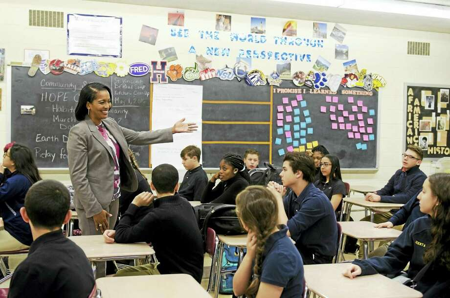 The Council of Chief State School Officers named Jahana Hayes as National Teacher of the Year on Thursday, April 28, 2016. Hayes teaches at John F. Kennedy High School in Waterbury and previously taught at James Hillhouse High School in New Haven. Photo: (Photo Courtesy Of Waterbury Public Schools)