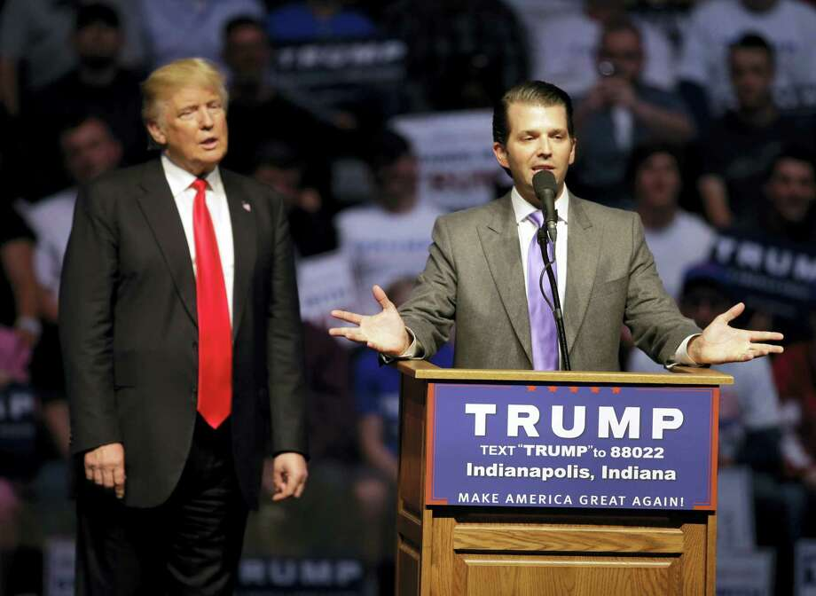 Donald Trump, Jr. speaks as Republican presidential candidate Donald Trump listens during a campaign stop Wednesday, April 27, 2016, in Indianapolis. Photo: AP Photo/Darron Cummings  / Copyright 2016 The Associated Press. All rights reserved. This material may not be published, broadcast, rewritten or redistributed without permission.