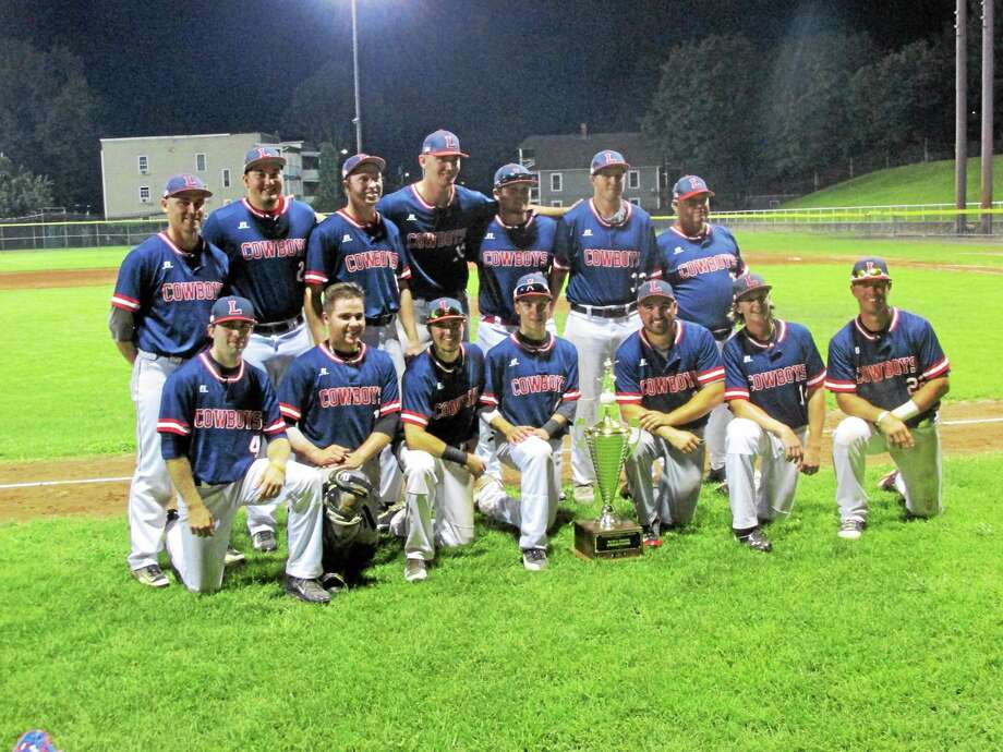 PETER WALLACE — REGISTER CITIZEN The Litchfield Cowboys took home a brand new Tri-State Baseball League championship trophy Friday night at Fuessenich Park. Photo: Journal Register Co.