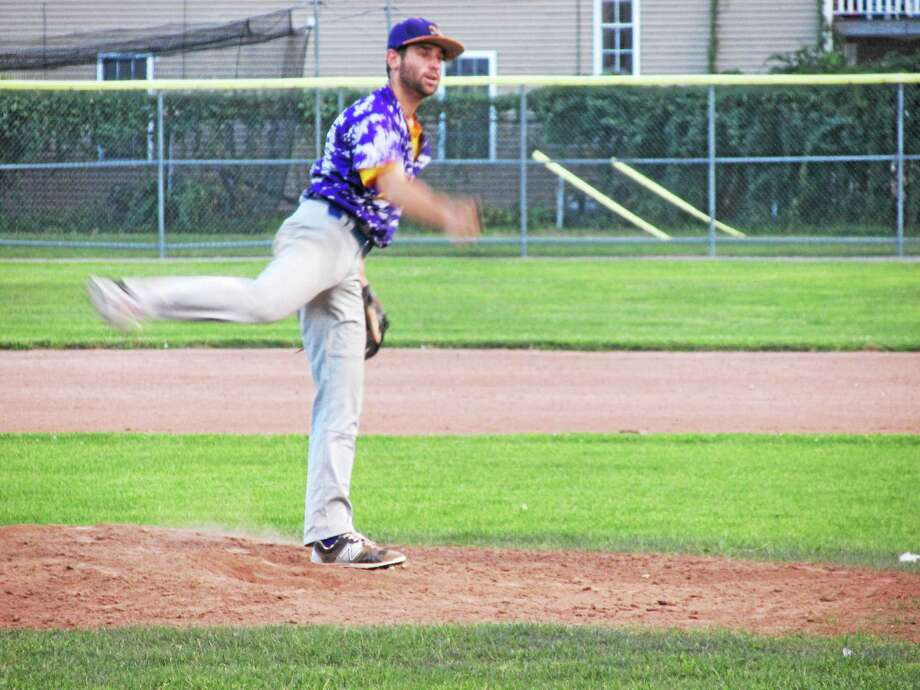 Tri-Town pitcher Jordie Scheiner had his knuckleball behaving in Thursday's win over Litchfield in Game Two of the best-of-three Tri-State championship series. Photo: Peter Wallace — Register Citizen