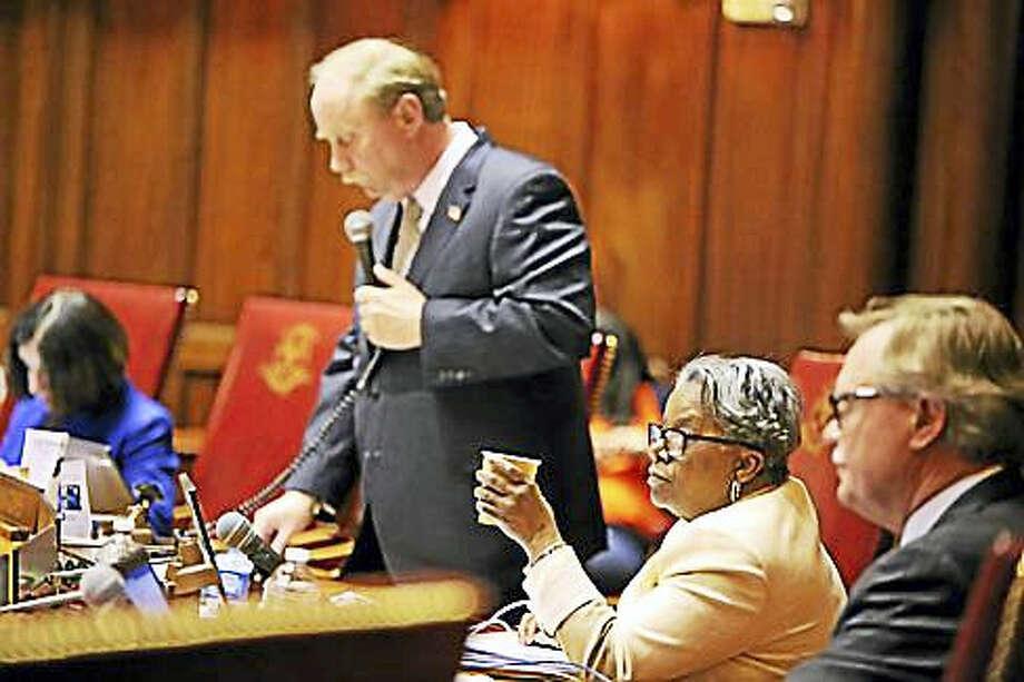 Sen. Marilyn Moore listens to Republican lawmakers speak against the bill. Photo: Christine Stuart — CT News Junkie