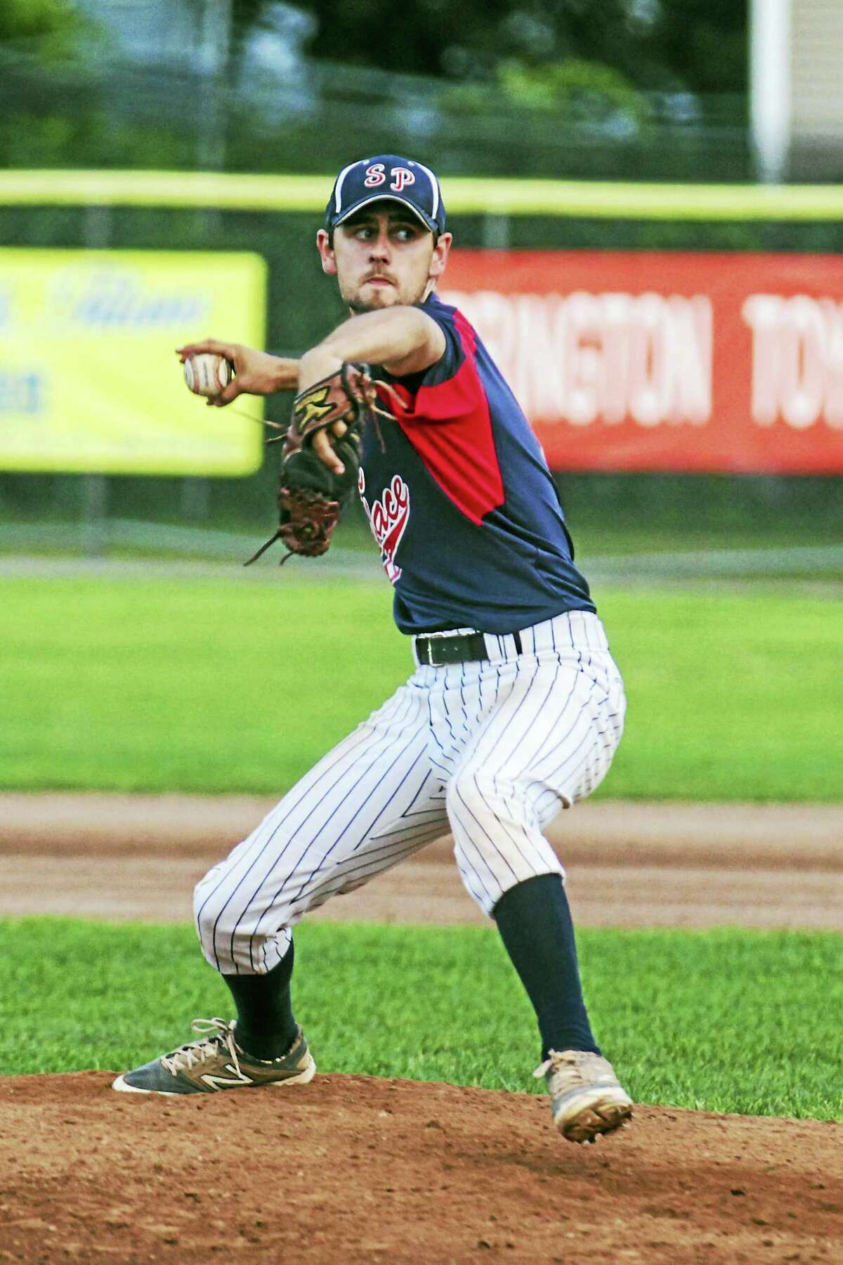 Photo by Marianne KillackeyTorrington's Josh Rubino held steady through a combined nine errors in Sports Palace's second-game win in a double header split against New Milford.