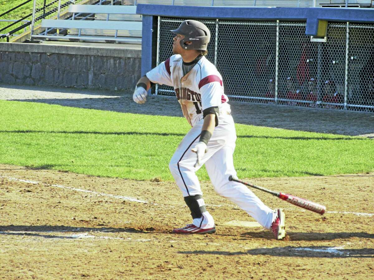 Dom Sabia watches his second double of the game fly off the left centerfield fence in a Torrington win over Wolcott Wednesday at Fuessenich Park.