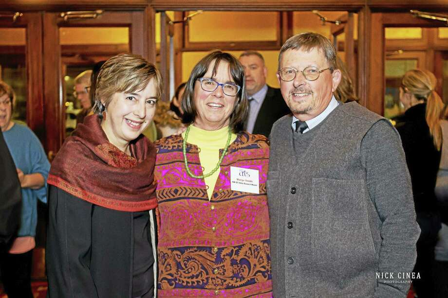 Nick Cinea Photography Gail Kruppa, right, and executive director Mark McEachern, Torrington Historical Society, right, join Marge Smith, center, from the Kent Historical Society. Photo: Digital First Media / Nick Cinea Photography http://www.nickcineaphotography.com