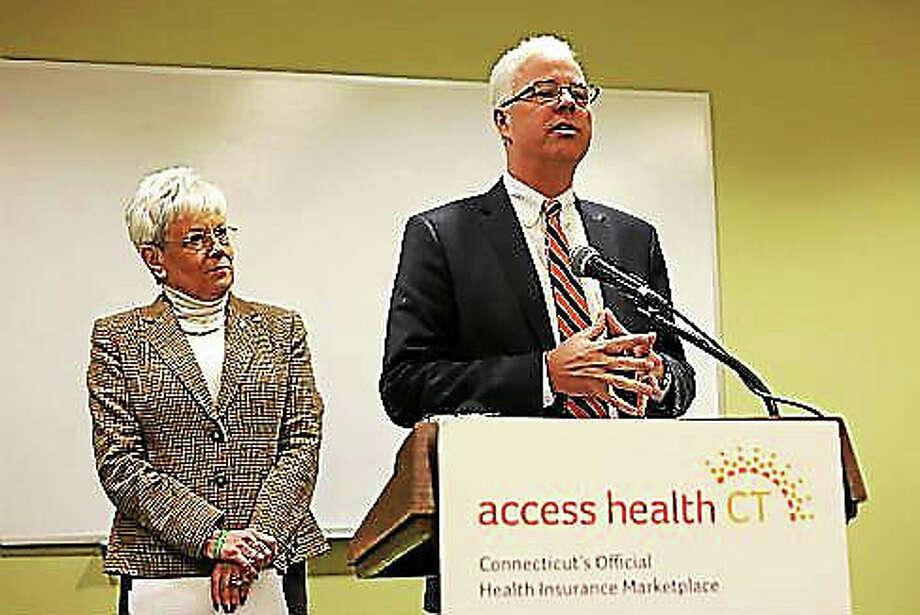 Christine Stuart - CT News Junkie file photoAccess Health CT CEO James Wadleigh and Lt. Gov. Nancy Wyman Photo: Journal Register Co.
