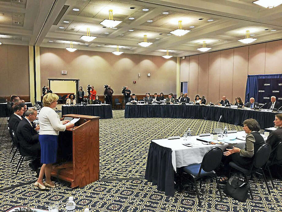 Torrington Mayor Elinor Carbone addresses the UConn Board of Trustees in Storrs on Wednesday morning, before the board's vote on the future of the Torrington campus. Photo: Ben Lambert — The Register Citizen