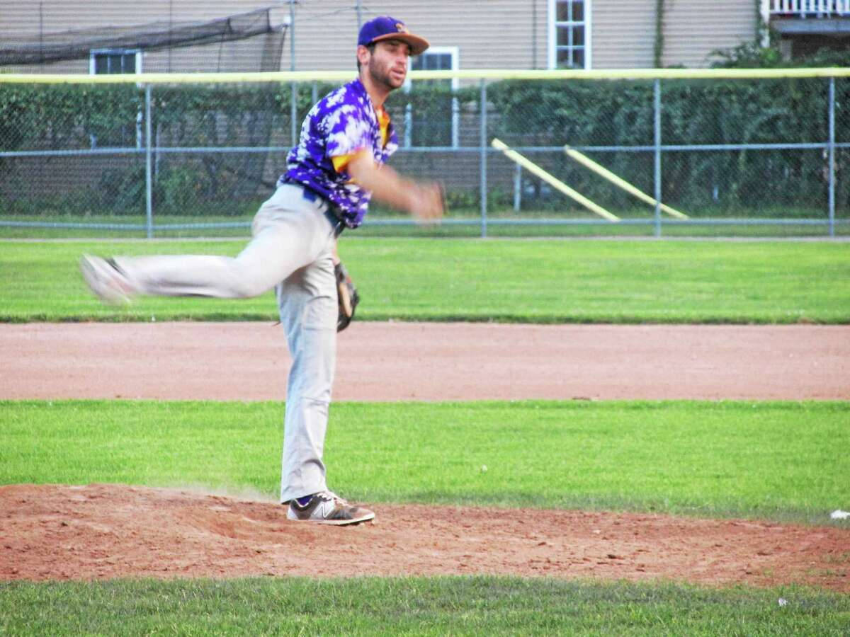 Peter Wallace - Register Citizen Tri-Town pitcher Jordie Scheiner had his knuckleball behaving in Thursday's win over Litchfield in Game Two of the best-of-three Tri-State championship series.