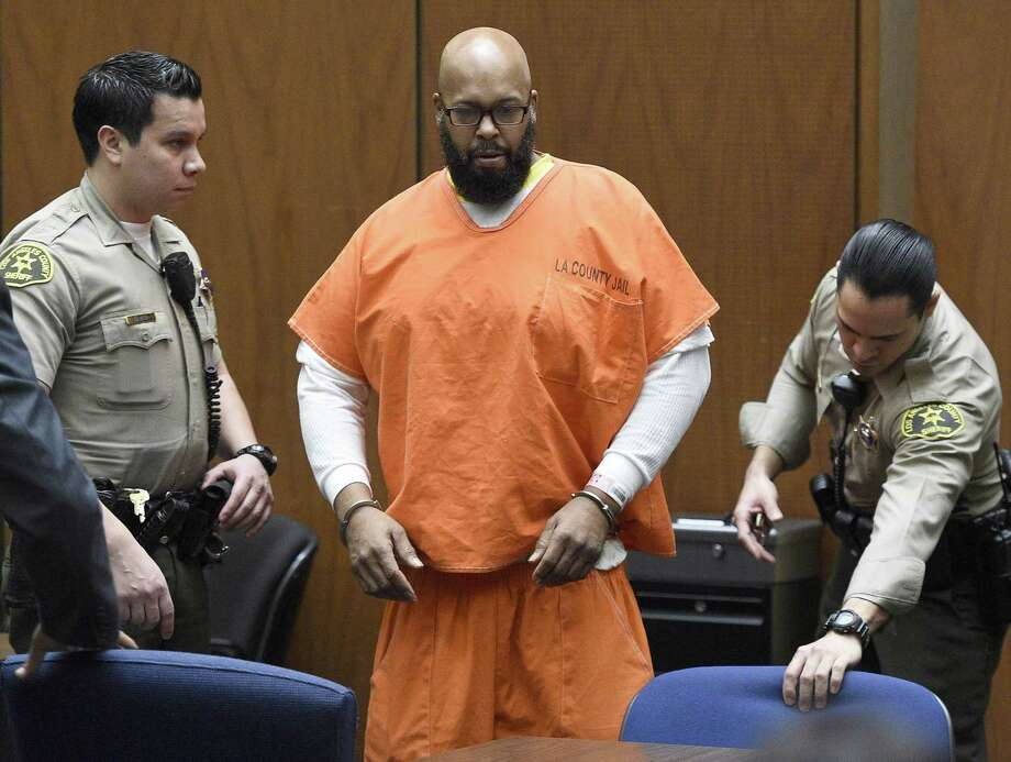 """FILE - In this March 9, 2015 file photo, Marion """"Suge"""" Knight arrives in court for a hearing about evidence in his murder case, in Los Angeles. Knight is scheduled to return to court on Thursday, April 16, 2015, for the conclusion of a preliminary hearing in which a judge determines whether there is enough evidence for the former rap music mogul to stand trial on murder, attempted murder and hit-and-run charges filed after he struck two men with his pickup truck in late January. Photo:  (AP Photo/Kevork Djansezian, Pool, File) / Pool Getty"""